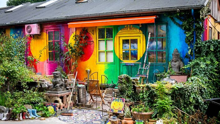 Christiania, in Copenhagen was founded in 1971, by a group of anarchic squatters and artists who took over an abandoned military base.