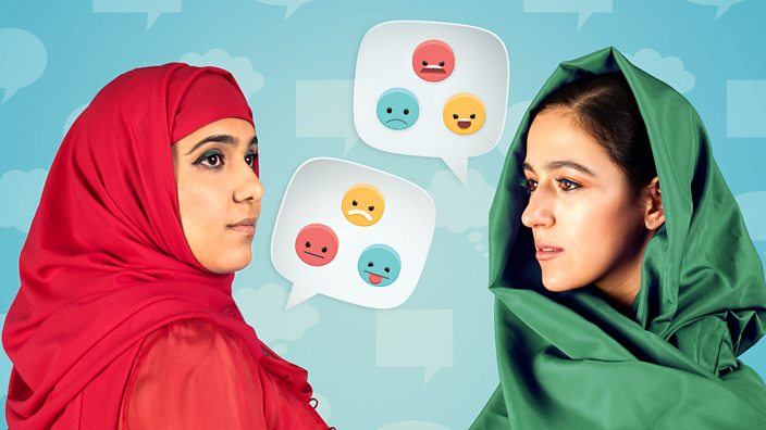 Two hijabis face each other with emojis in speech bubbles, discussing Channel 4's My Week As a Muslim