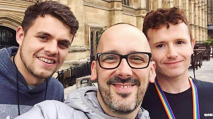 Sam in London with members of Survivors Manchester, a support group for victims of male rape
