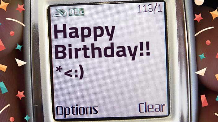 Happy Birthday text on an old mobile phone