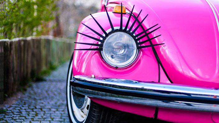 Car with eyelashes