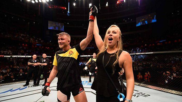 Alexander Gustafsson celebrates getting engaged at UFC Stockholm