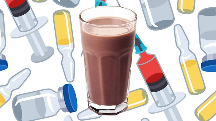 Protein shake on illustrated background