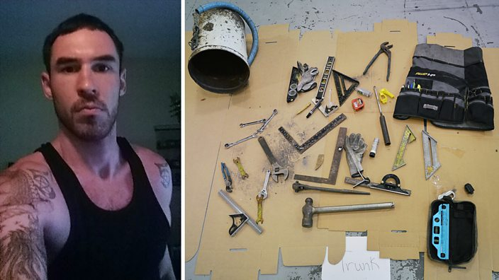 Joshua Vallum and some of the items found by police