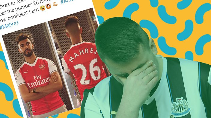 Arsenal fan with Mahrez shirt, Newcastle fan with head in hands