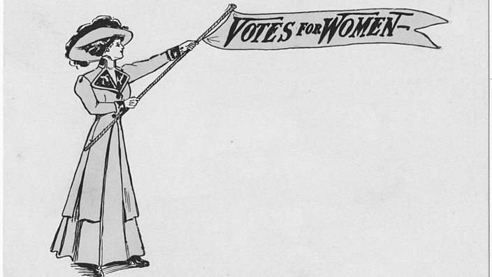 An image of a 'votes for women' banner