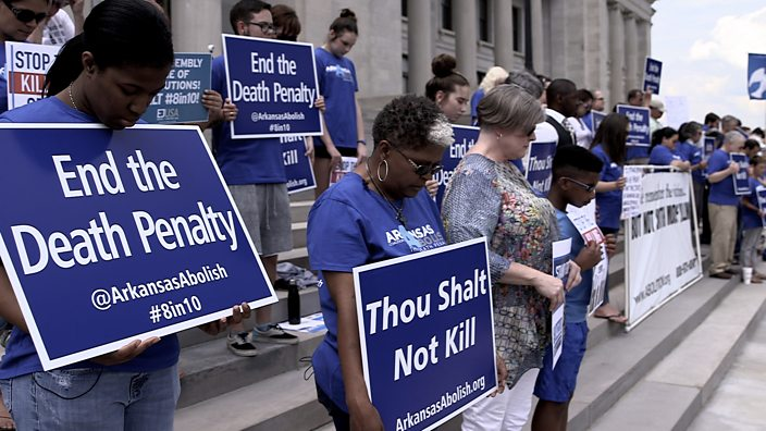Campaigners rally against the death penalty in Arkansas