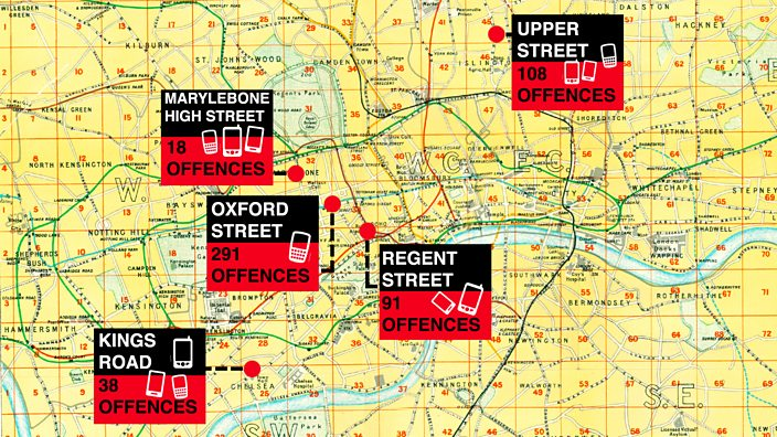 The five moped crime hotspots