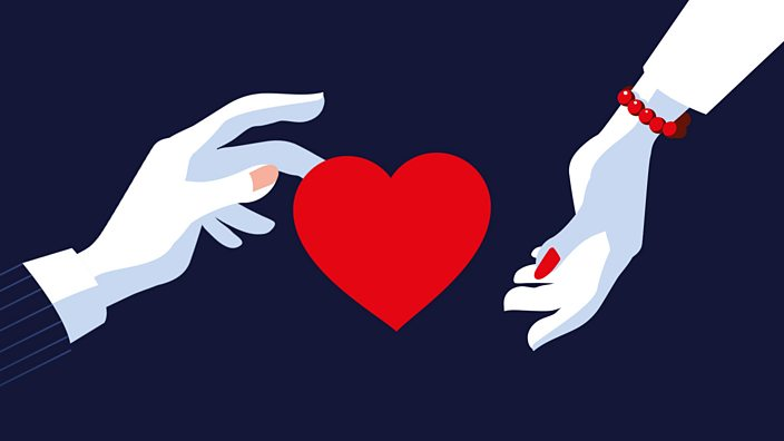 A man's hand reaching out to a woman's hand with a heart in between the two
