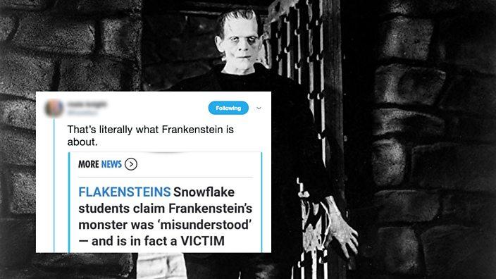 Boris Karloff and tweet about frankenstein