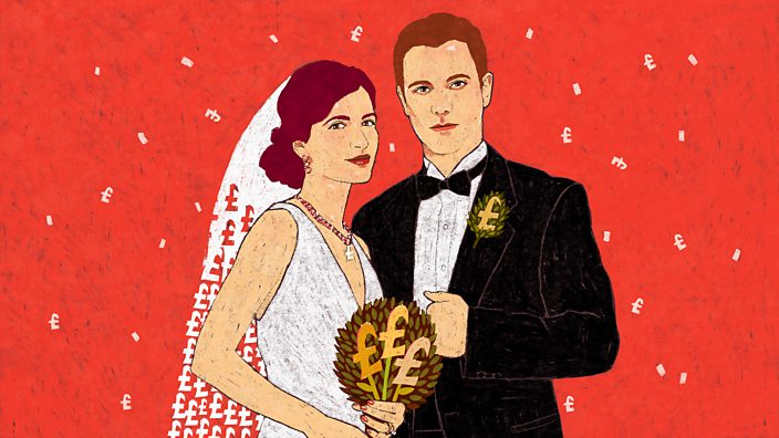 Illustration of couple having an expensive wedding