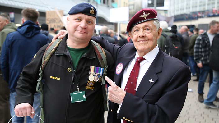Veterans at the Football Lads Alliance protest in Birmingham on March 24