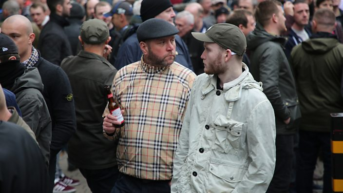 Two men at the end of the Football Lads Alliance march