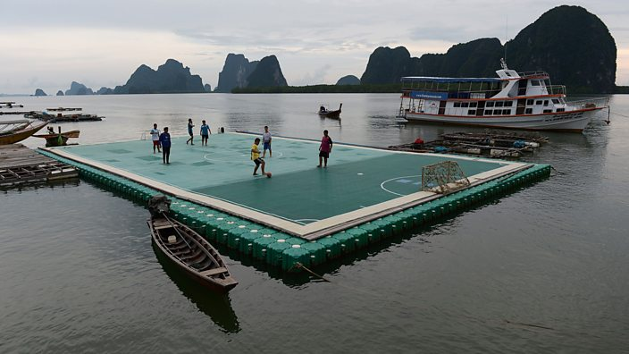 Floating football pitch, Thailand