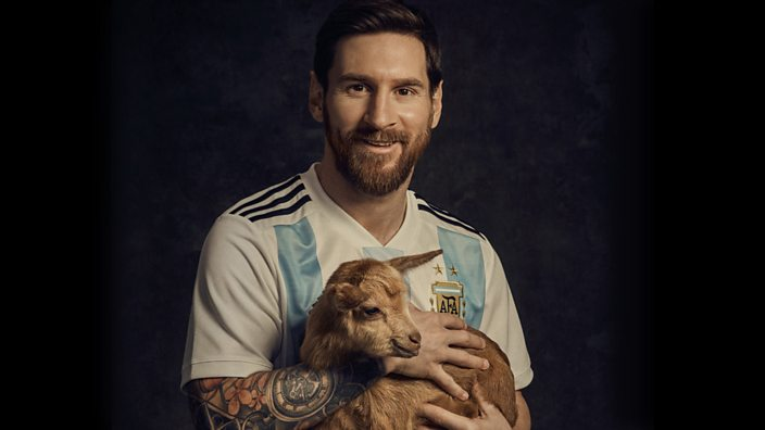 Lionel Messi with a goat