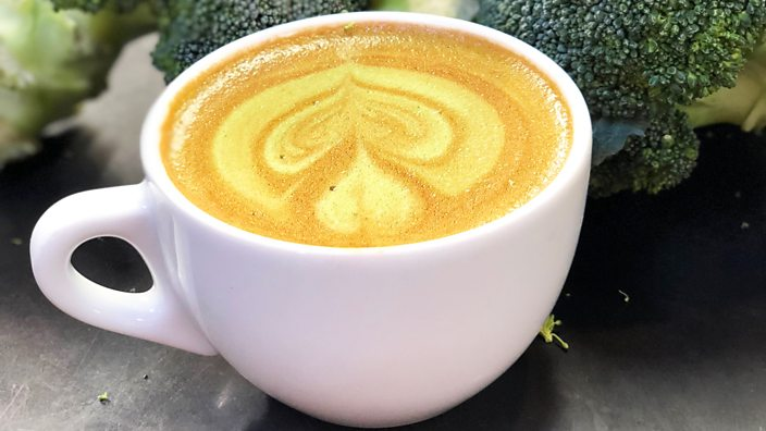 A cup of broccoli coffee prepared and taken by Csiro in Australia