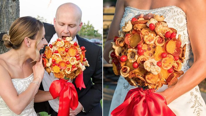 Brides holding the bouquet made of pizza