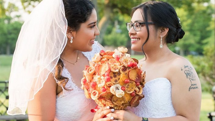 The bouquet is made of rolled ...
