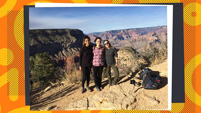 Three women road-tripping to the Grand Canyon