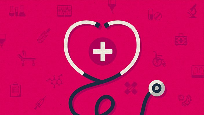 An illustration of a stethoscope in the shape of a heart