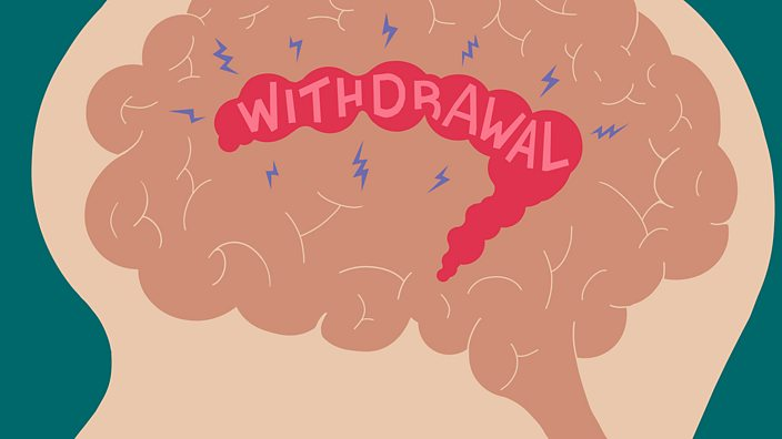 Cross-section of a brain showing the area that experiences withdrawal symptoms