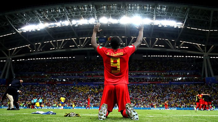 Romelu Lukaku celebrates Belgium's win over Brazil
