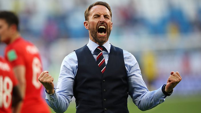 Gareth Southgate celebrates England beating Sweden