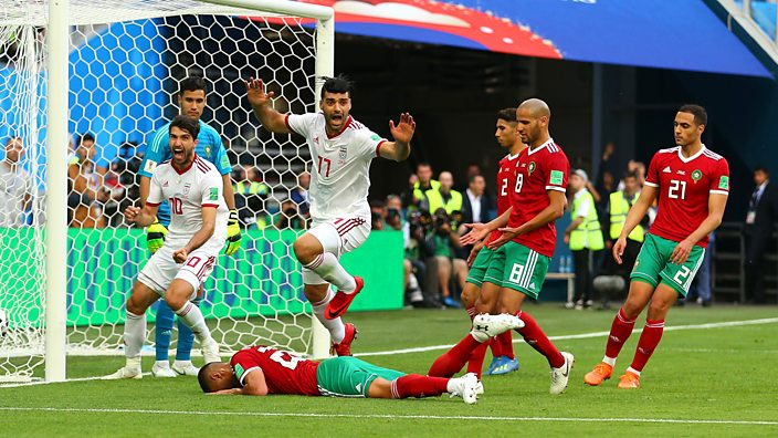 Aziz Bouhaddouz scores an own-goal against Morocco