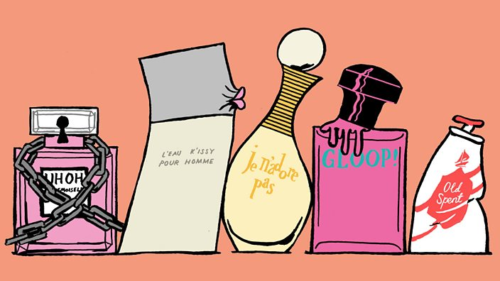 A comical illustration of parody teenage perfume products, featuring: Gloop, Uh Oh Mademoiselles, Old Spent and more