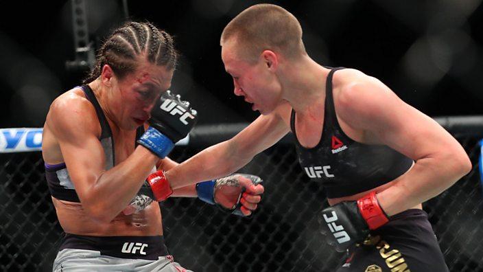 Joanna Jedrzejczyk and Rose Namajunas at UFC 223