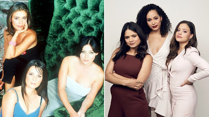 The original Charmed cast on the left, and the new trio on the right
