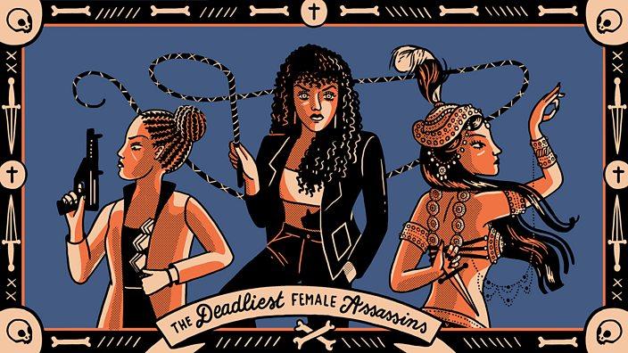 An illustration featuring 3 female assassins