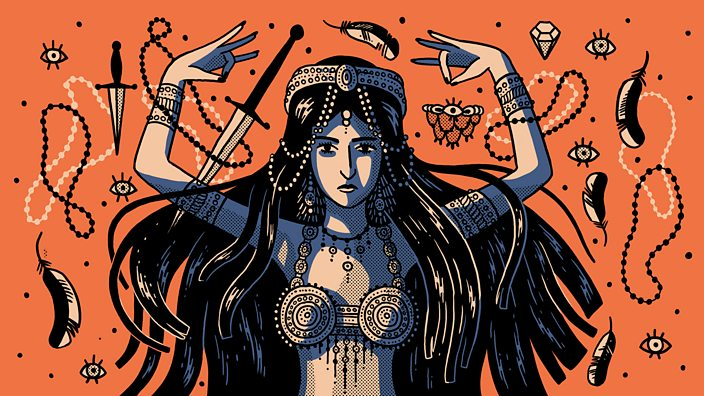 An illustration of a female assassin hypnotising her would be victim