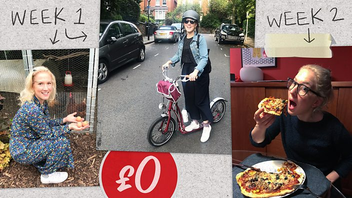 Photos of the author during week one and two – riding a scooter to work and eating home made pizza
