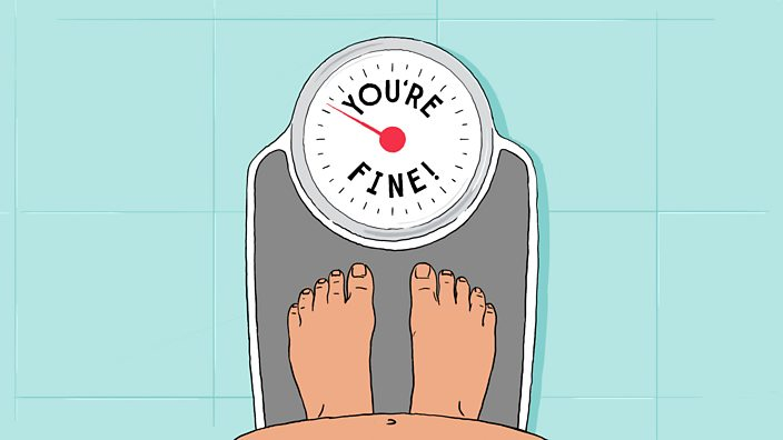 An illustration of someone standing on a set of scales and the scales telling them 'you're fine'