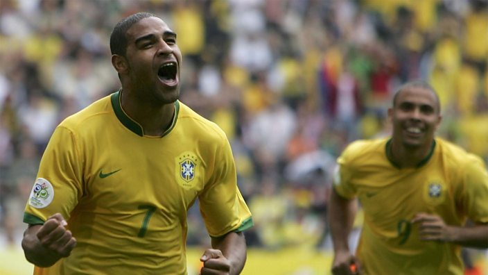 Adriano scores for Brazil at the 2006 World Cup