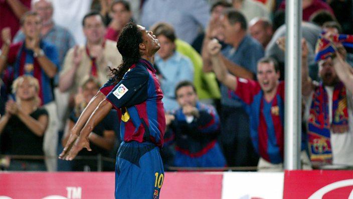 Ronaldinho celebrates scoring on his Barcelona debut against Sevilla