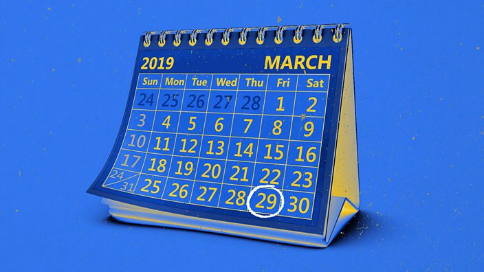 A calendar highlighting 29 March 2019, the date when the Brexit deal is due to be made