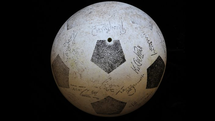 Football with Kevin Keegan's printed signature