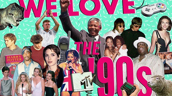 A collage of '90s popular culture