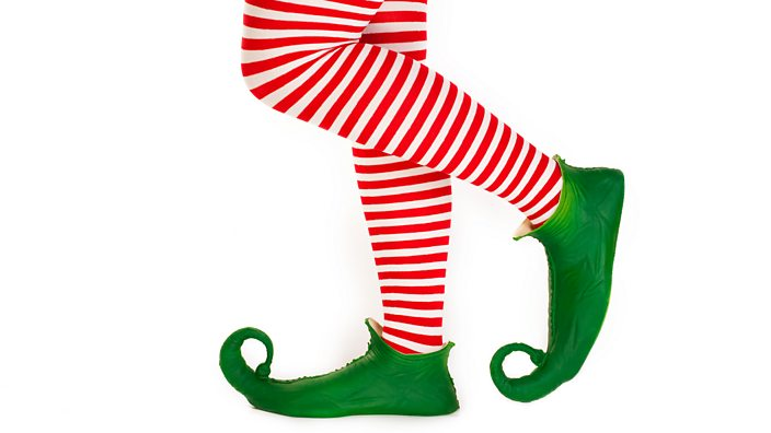 elf with stripy socks and green shoes
