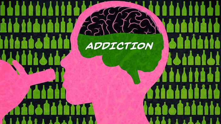 An illustration of a brain with the word addiction