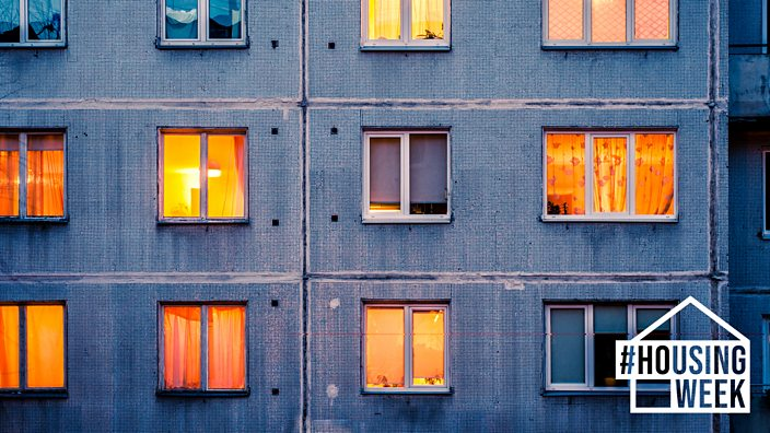 Windows on the exterior of a block of flats