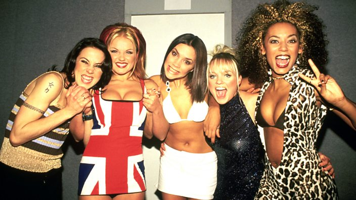The Spice Girls backstage at the Brit Awards in February 1997