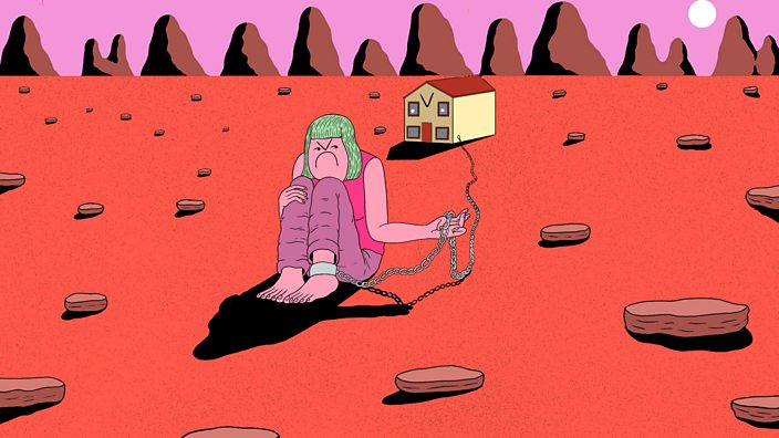 The cons of home ownership. An illustration showing a woman shackled and tied down to her house by a chain around her ankle
