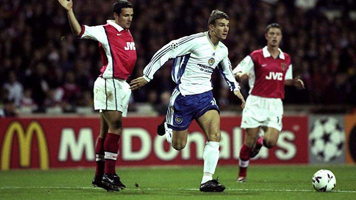 Andriy Shevchenko playing for Dynamo Kiev against Arsenal