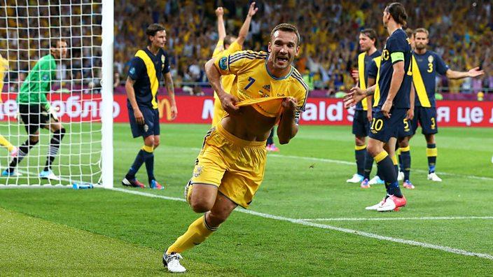 Andriy Shevchenko scores for Ukraine against Sweden at Euro 2012