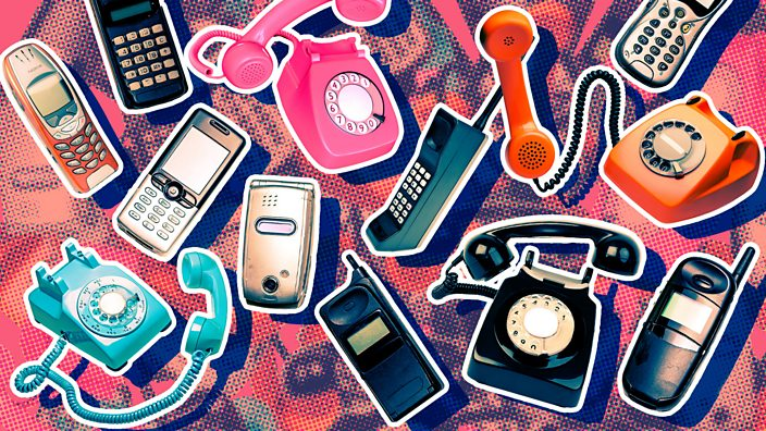 A collage of old phones