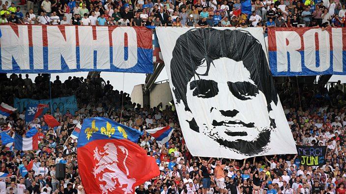 Lyon fans with a Juninho banner