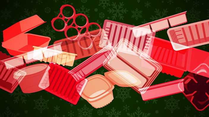 Illustration of different pieces of single-use plastic in a pile, with a Christmas background